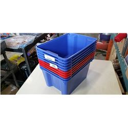 Lot of blue and red storage totes