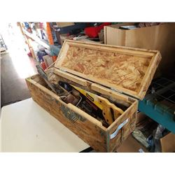 WOOD TOOLBOX WITH HAND SAWS AND SPEED DRILLS