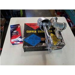 Vintage meat grinder, bottle opener, hex style clamp kit and copper enameling kit