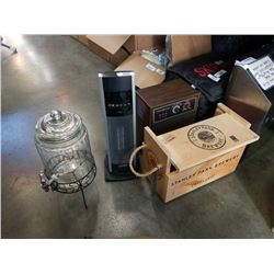 Ge heater, bionaire heater and drink dispenser with stanley park wine crate