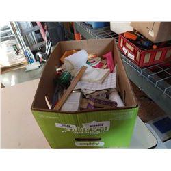 BOX OF CRAFT SUPPLIES AND RIBBON