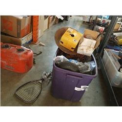 TOTE OF TRUC PARTS, AIR LINES, TOOLS, GOLD PAN