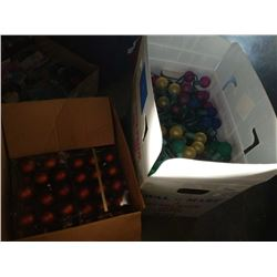 BOX OF CHRISTMAS LIGHTS AND BOX OF ORNAMENTS