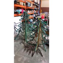 2 LIGHT UP XMAS TREE LAWN ORNAMENTS - APPROX 4 AND 5 FOOT TALL, NEED POWER CORDS