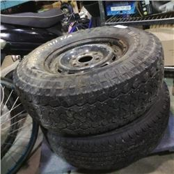 2 TIRES WITH 6 BOLT RIMS - 245/75R16 INCH