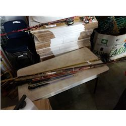LOT OF FISHING RODS AND CHUMNEY BROOM