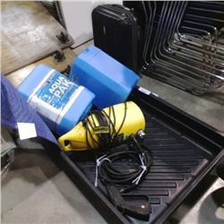 Oil change pan with 1300 psi pressure washer and 2 water jugs