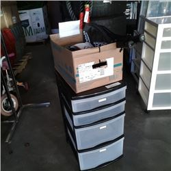 4 drawer plastic organizer with box of sporting goods