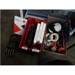TOTE AND BOX OF TOOLS, TAPE, WORK GLOVES AND MORE