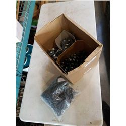 BOX OF GRINDING BITS, SPACERS, WASHERS AND SILICINE COVERS