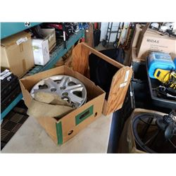 Box of 4 honda rim covers and wood tool box with dr scholls seat massager