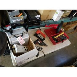 Tool box of tools, air nailer, drill, hardcase and electric weed eater