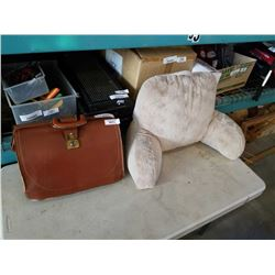 LEATHER BAG AND CUSHION
