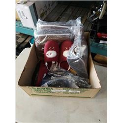 Box of new water shoes, boots and slippers