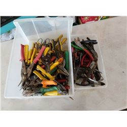 BIN OF TIN SNIPS AND WIRE CUTTERS