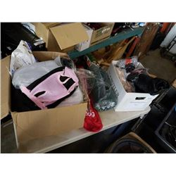 2 BOXES OF SOCKS, CLEANING GLOVES, DOG BOOTS, DOG ITEMS