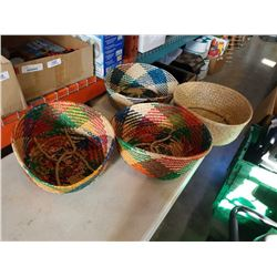 4 WOVEN HANGING BASKETS