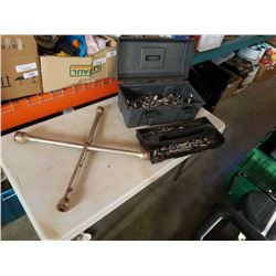 TOOLBOX FULL OF SOCKETS 3/8 INCH DRIVE AND TIRE IRON
