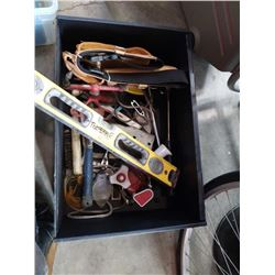 BOX OF TOOLS, COUPLER, TOOLBELT AND MORE