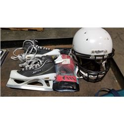 SCHUTT FOOTBALL HELMET, ICE HOCKEY GOALIE SKATES SIZE 5.5 AND SOCCER GOALIE GLOVES