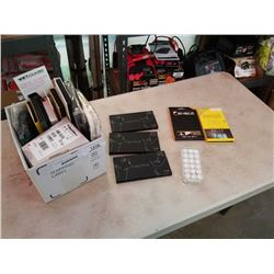 BOX OF PHONE SCREEN PROTECTORS, PROTEGE EYEBROW PALLETES AND MORE