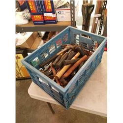 BASKET OF HAMMERS AND RUBBER MALLETS