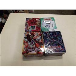 4 TINS OF YU GI OH CARDS