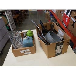 2 BOXES OF PANS, BOOKENDS, VASE AND FROG COIN BANK