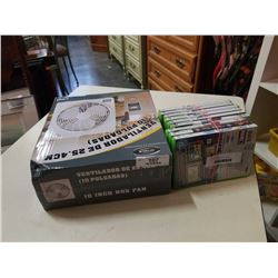 Lot of xbox 360 games and box fan