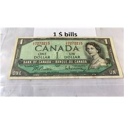 3 CIRCULATED 1954 CANADIAN $1 BILLS