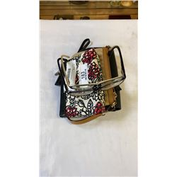 3 SMALL PURSES AND DESIGNER SUNGLASS FRAMES WITH PERSCRIPTION LENSES