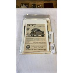 Mid century car ads and lot of world stamps