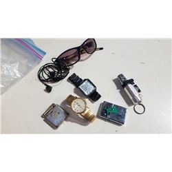 3 LIGHTERS, 2 WATCHES AND SUNGLASSES