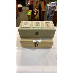 White jewelry box with contents and case of watches