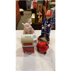 PIG, CANADA POST AND HEART COIN BANKS WITH FIREFIGHTER AND FIGURE DECANTERS
