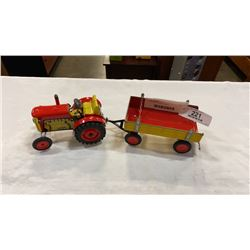 TIN TRACTOR AND TRAILER