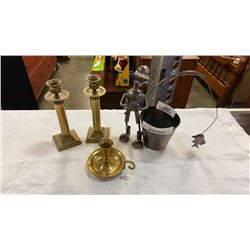 METAL FISHING FIGURE AND 3 BRASS TONE CANDLE HOLDERS