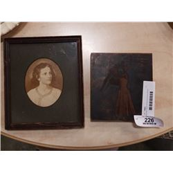 Mounted copper etched picture and antique picture