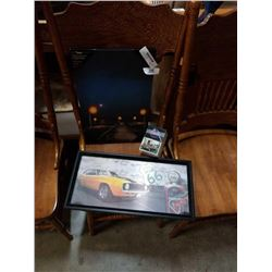Canvas print, route 66 holographic and vehicle trading cards muscle and corvette