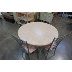 ROUND METAL BASE DINING TABLE WITH 4 CHAIRS