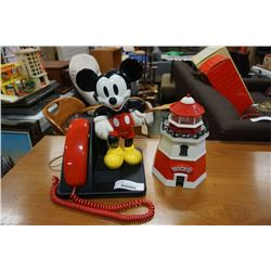MICKEY MOUSE TELEPHONE - WORKING AND LIGHTHOUSE COOKIE BIN WITH COOKIE RAIDER ALERT