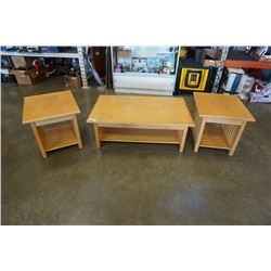 MAPLE COFFEE TABLE AND 2 ENDTABLES