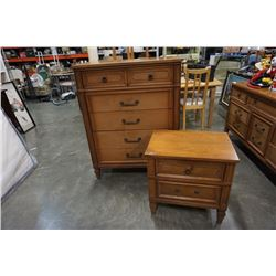 5 DRAWER SATIN WALNUT HIGHBOY DRESSER AND 2 DRAWER NIGHTSTAND