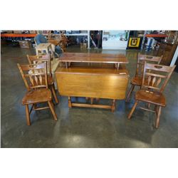 SIKES COMPANY DROPLEAF DINING TABLE WITH 2 LEAFS AND 4 CHAIRS