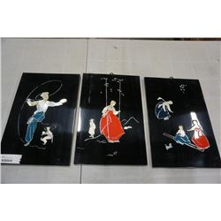 3 PIECE ORIENTAL WALL HANGINGS