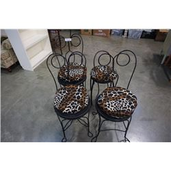 3 WIRE METAL CHAIRS AND STOOL WITH LEOPARD PRINT CUSHIONS