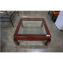 MAHOGANY FINISH GLASSTOP COFFEE TABLE
