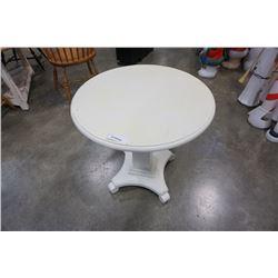 WHITE PEDESTAL SIDE TABLE