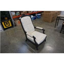 VINTAGE HIGHLY CARVED UPHOLSTERED CHAIR