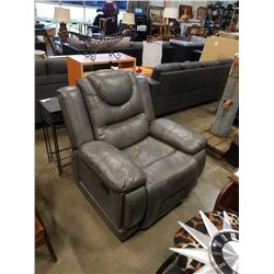 GREY LEATHER ROCKING RECLINER CHAIR